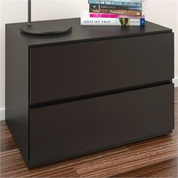 Night Stand in Black Lacquer & Melamine