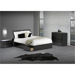 Reversible Storage 3 Piece Bedroom Set in Black