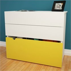 2-Drawer Chest with Mobile Storage Trunk in White and Yellow