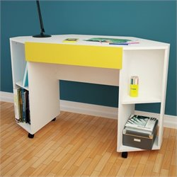 Mobile Desk with Drawer in White and Yellow