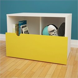 Mobile Storage Bench in White and Yellow