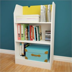 3-Shelf Bookcase in White and Yellow