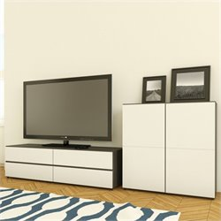 TV Stand in White Lacquer & Ebony with 1-Door Storage