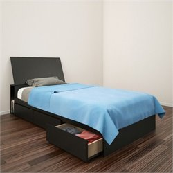 Twin Storage Bed with Headboard in Black