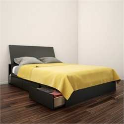 Full Storage Bed with Headboard in Black