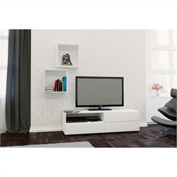 2 Piece Entertainment Set in White with Wall Cubes