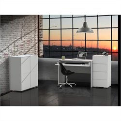4 Piece Office Set in White with 1 Door Storage Units