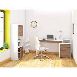 3 Piece Office Set Set in White with Bookcase