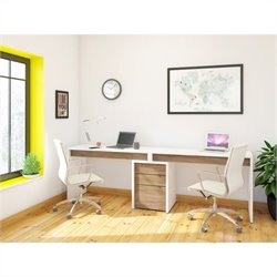 3 Piece Office Set in White with Desk Panel
