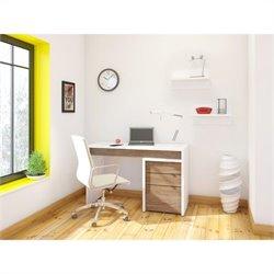 3 Piece Office Set in White with Wall Shelves