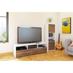 2 Piece Entertainment Set in White with Desk Panel