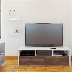 2 Piece Entertainment Set in White with Wall Shelves