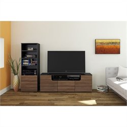 2 Piece Entertainment Set in Black and Walnut with Bookcase