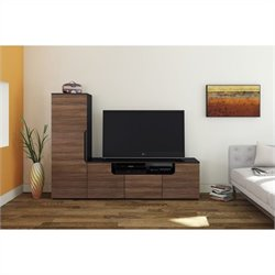 2 Piece Entertainment Set in Black and Walnut with Storage Unit