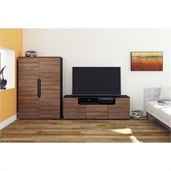 3 Piece Entertainment Set in Black and Walnut with Storage Unit
