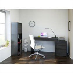 3 Piece Office Set in Black and Ebony with Bookcase