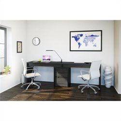 3 Piece Office Set in Black and Ebony with Desk Panel