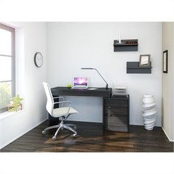 3 Piece Office Set in Black and Ebony with Wall Shelves