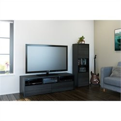 2 Piece Entertainment Set in Black and Ebony with Desk Panel