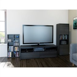 3 Piece Entertainment Set in Black and Ebony