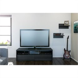 2 Piece Entertainment Set in Black and Ebony with Wall Shelves