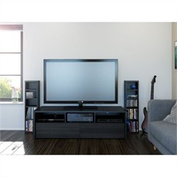 2 Piece Entertainment Set in Black and Ebony with Storage Tower