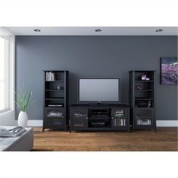 3 Piece Entertainment Set in Black Laquer and Melamine