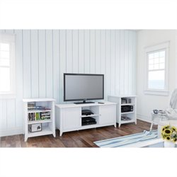 3 Piece Entertainment Set in White with Audio Tower