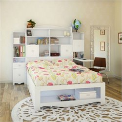 4 Piece Full Bedroom Set in White with Bookcase Desk