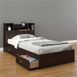 2 Piece Twin Bedroom Set in Espresso with 3 Drawers