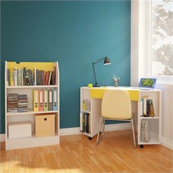 2 Piece Office Set in White and Yellow with Bookcase