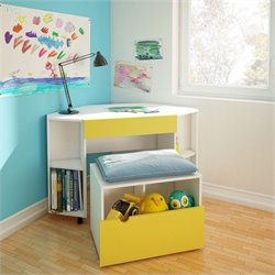 2 Piece Office Set in White and Yellow with Storage Bench