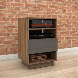 1-Drawer Audio Cabinet in Walnut and Charcoal