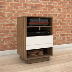 1-Drawer Audio Cabinet in Walnut and White