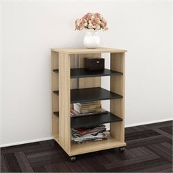 Mobile Storage Tower in Biscotti and Black
