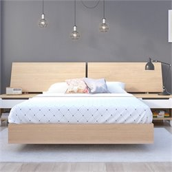 Full Platform Bed with Panoramic Headboard in Maple