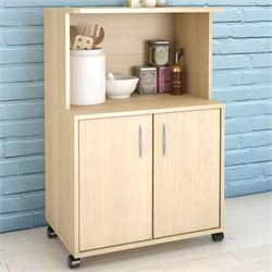 Microwave Kitchen Cart in Natural Maple