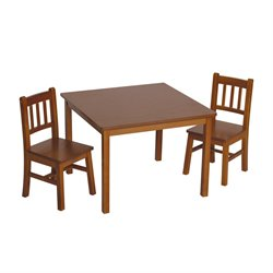 Guidecraft Mission 3 Piece Table and Chair Set in Walnut