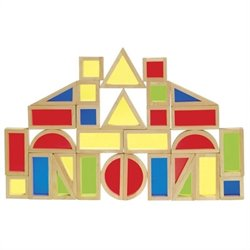 Guidecraft Hardwood Rainbow Blocks Set - 30 Pieces