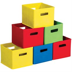 Guidecraft Set of 6 Fabric Bins in Multicolor