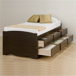 Tall Twin Platform Storage Bed in Espresso