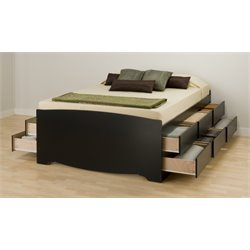 Black Tall Full Platform Storage Bed with 12 Drawers