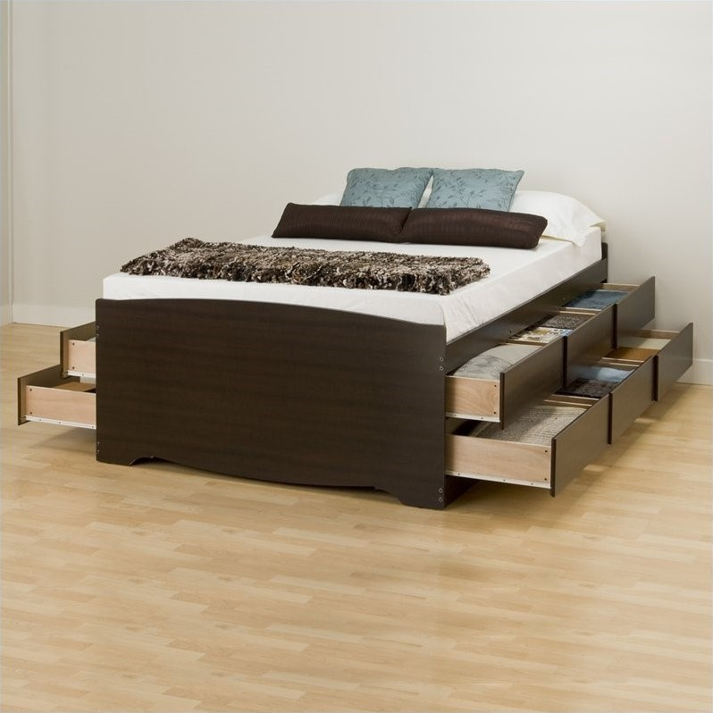 Tall Double Platform Storage Bed in Espresso
