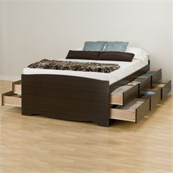 Tall Queen Platform Storage Bed in Espresso