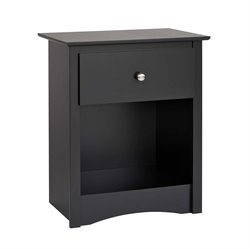 1 Drawer Tall Nightstand in Black