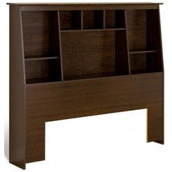 Slant-Back Tall Full/Queen Bookcase Headboard in Espresso