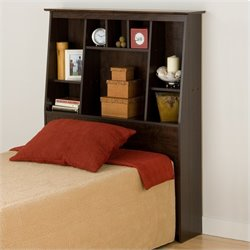 Slant-Back Tall Twin Bookcase Headboard in Espresso
