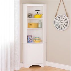 Tall Corner Storage Cabinet in Elite White
