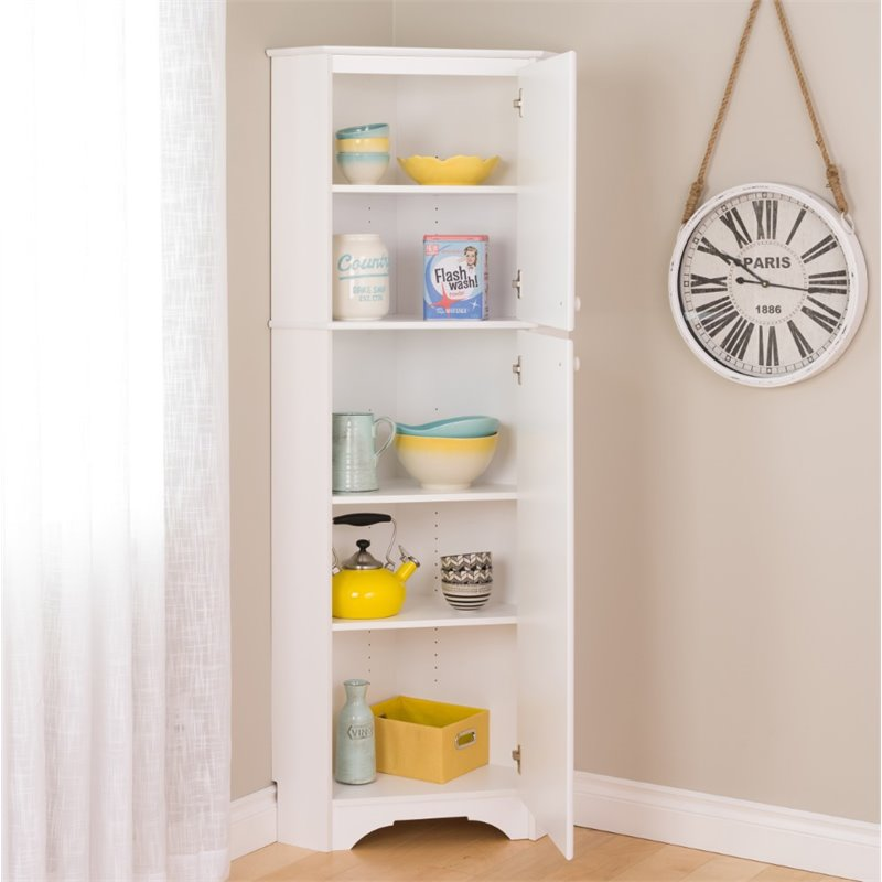 Tall 2 Door Corner Storage Cabinet In Elite White Wscc