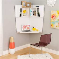 7 Shelf Floating Corner Desk in White
